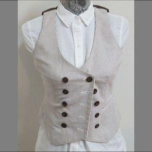 2P Brown Striped Nine West Petites #151 Suit Vest